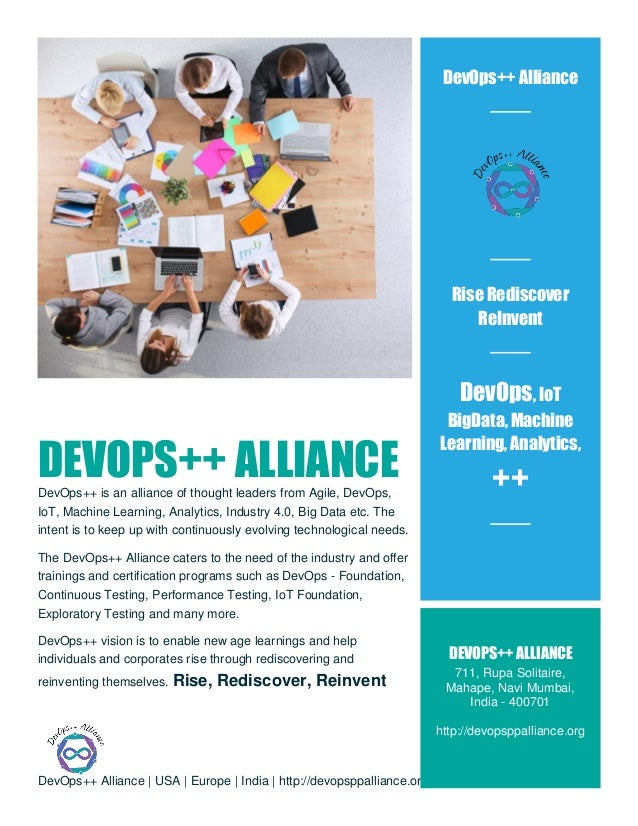 DevOps++ Alliance | USA | Europe | India | http://devopsppalliance.org/ DEVOPS++ ALLIANCEDevOps++ is an alliance of though...