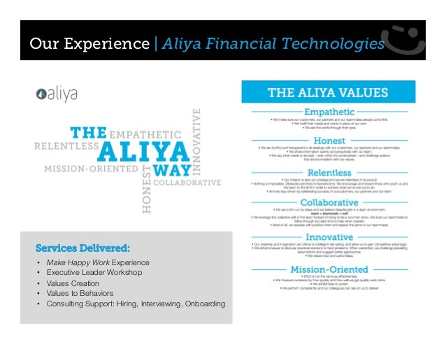 • Make Happy Work Experience • Executive Leader Workshop • Values Creation • Values to Behaviors • Consulting Support: Hir...