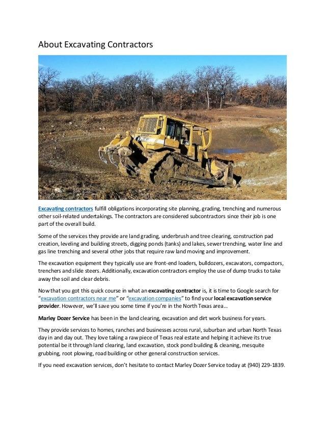 About excavating contractors