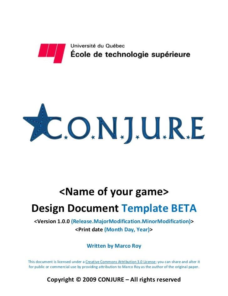 <Name of your game> Design Document Template BETA   <Version 1.0.0 (Release.MajorModification.MinorModification)>         ...