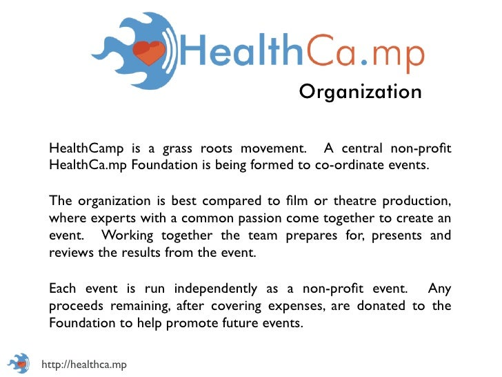 Organization HealthCamp is a grass roots movement. A central non-profit HealthCa.mp Foundation is being formed to co-ordina...