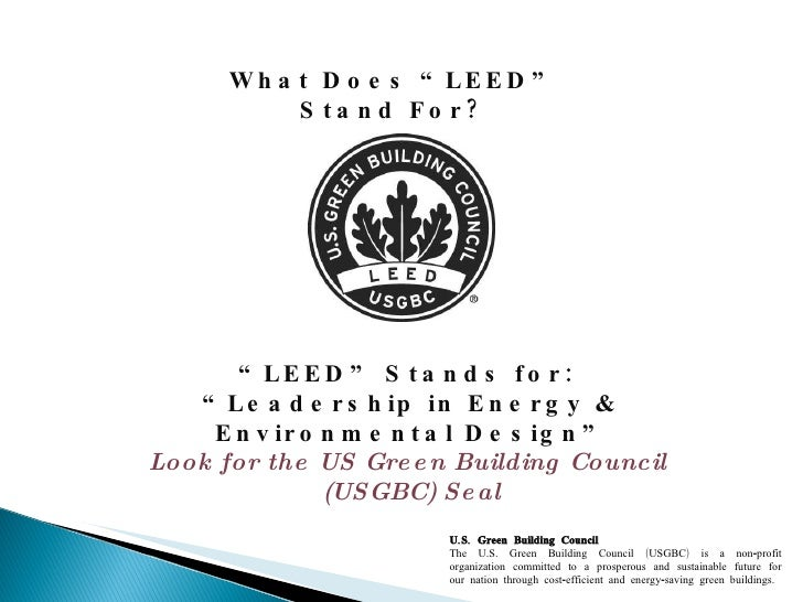 What does leed stand for for What is leed