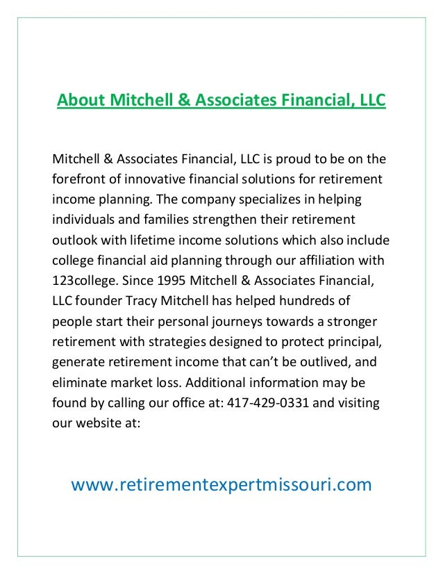 About Mitchell & Associates Financial, LLC Mitchell & Associates Financial, LLC is proud to be on the forefront of innovat...