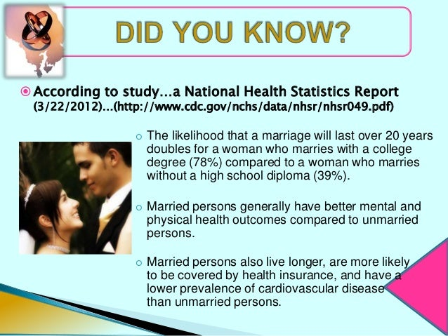  According to study…a National Health Statistics Report  (3/22/2012)…(http://www.cdc.gov/nchs/data/nhsr/nhsr049.pdf)     ...