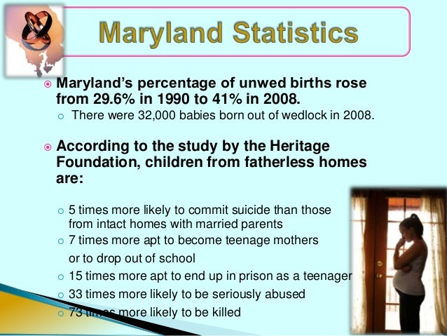    Maryland's percentage of unwed births rose    from 29.6% in 1990 to 41% in 2008.       There were 32,000 babies born ...