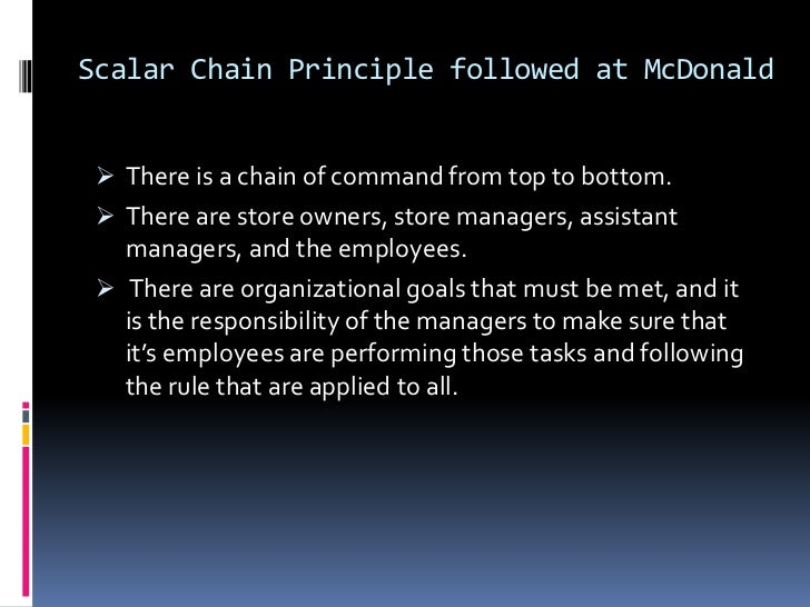 fayol principles of management in mc donalds 2 the fundamental notion of principles of management was developed by french management theorist henri fayol (1841–1925) he is credited with the original planning-organizing-leading-controlling framework (p-o-l-c), which, while undergoing very important changes in content, remains the dominant management framework in the world.