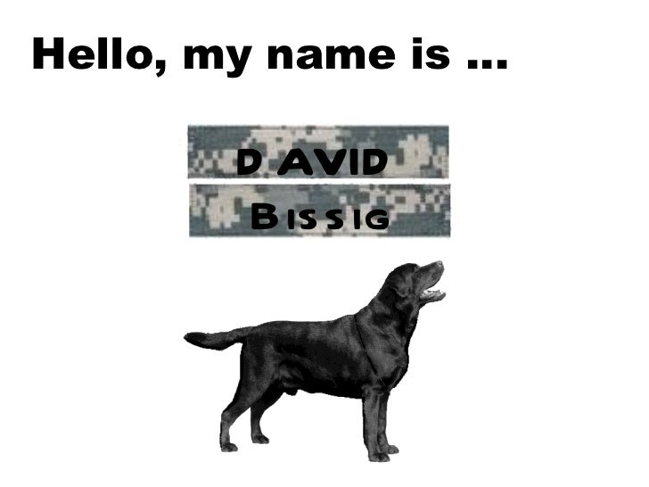 Hello, my name is …  DAVID Bissig