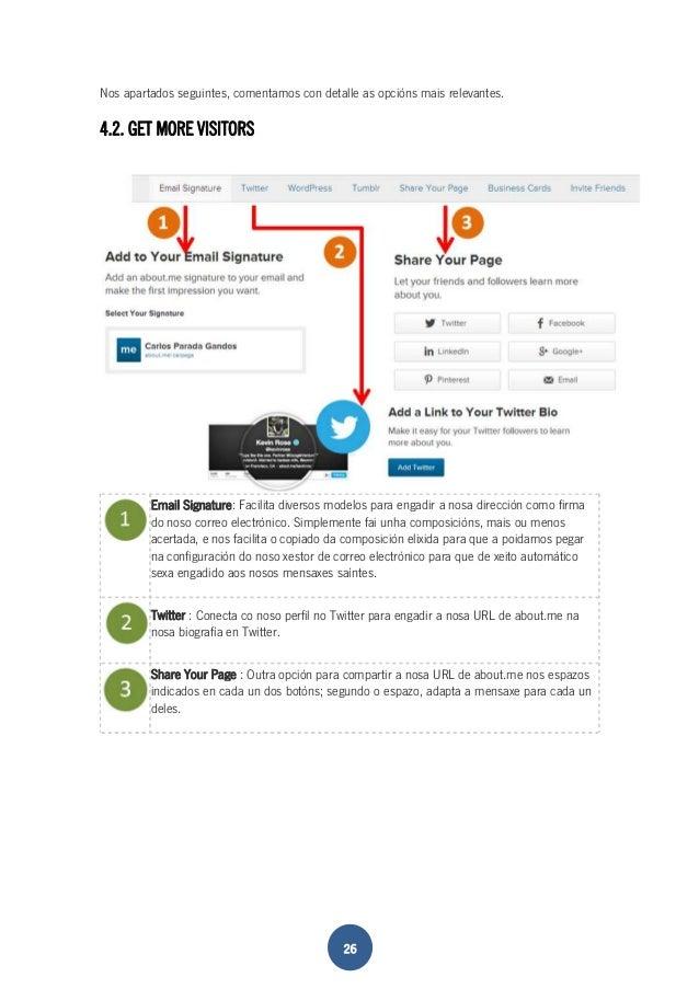Nos apartados seguintes, comentamos con detalle as opcións mais relevantes.  4.2. GET MORE VISITORS  Email Signature: Faci...