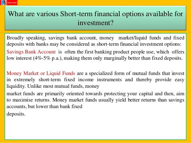 Investment options other than real estate