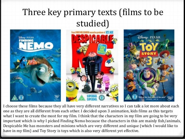 Three key primary texts (films to be  studied)  I choose these films because they all have very different narratives so I ...