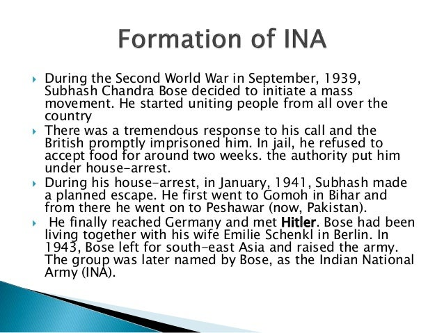  During the Second World War in September, 1939, Subhash Chandra Bose decided to initiate a mass movement. He started uni...