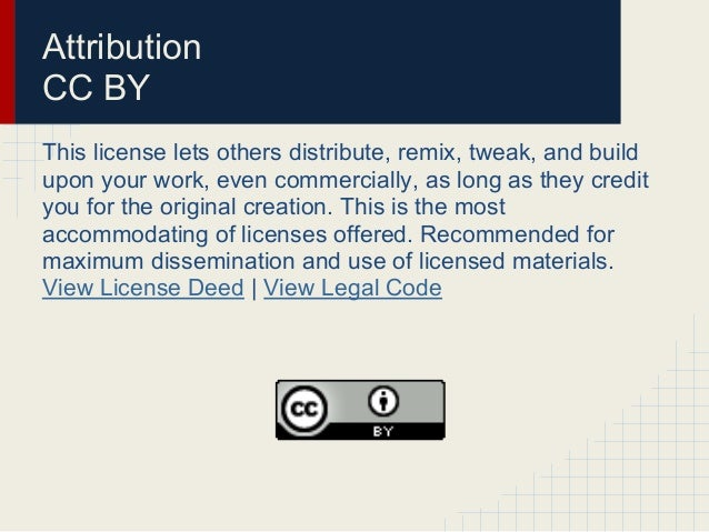 Attribution-NonCommercial-ShareAlike CC BY-NC-SAThis license lets others remix, tweak, and build upon yourwork non-commerc...