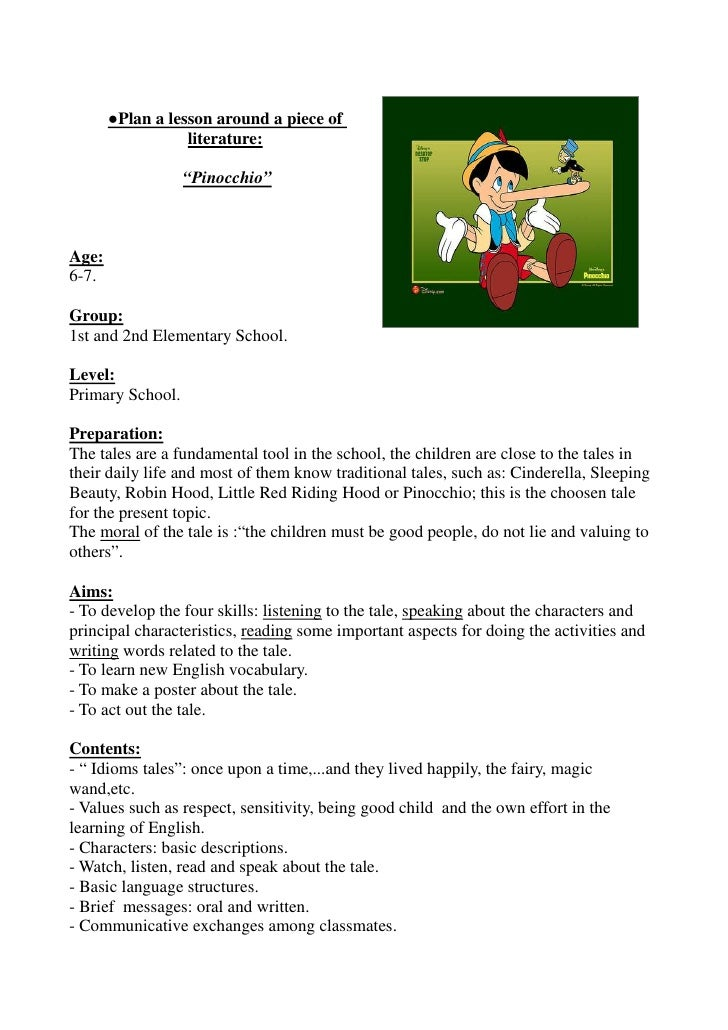 """●Plan a lesson around a piece of                  literature:                  """"Pinocchio""""Age:6-7.Group:1st and 2nd Elemen..."""