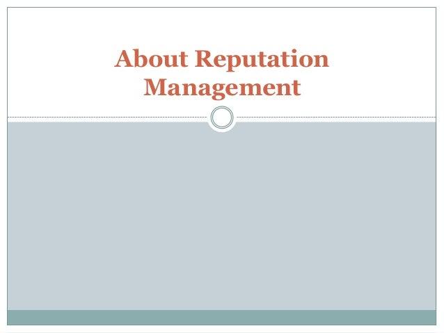 About Reputation Management