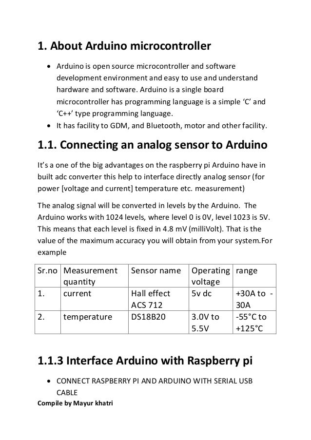 About sensor and interface raspberry pi with arduino