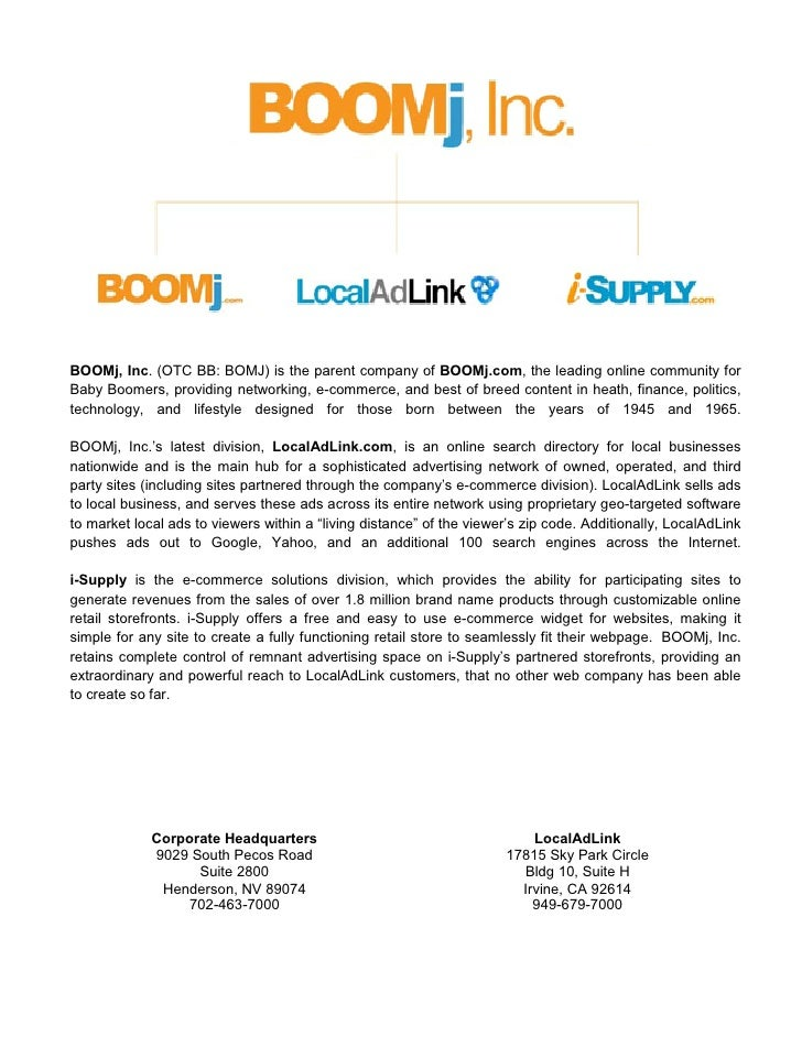 BOOMj, Inc. (OTC BB: BOMJ) is the parent company of BOOMj.com, the leading online community for Baby Boomers, providing ne...