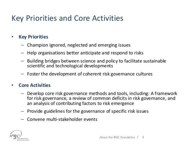 / Key Priorities and Core Activities • Key Priorities – Champion ignored, neglected and emerging issues – Help organisatio...
