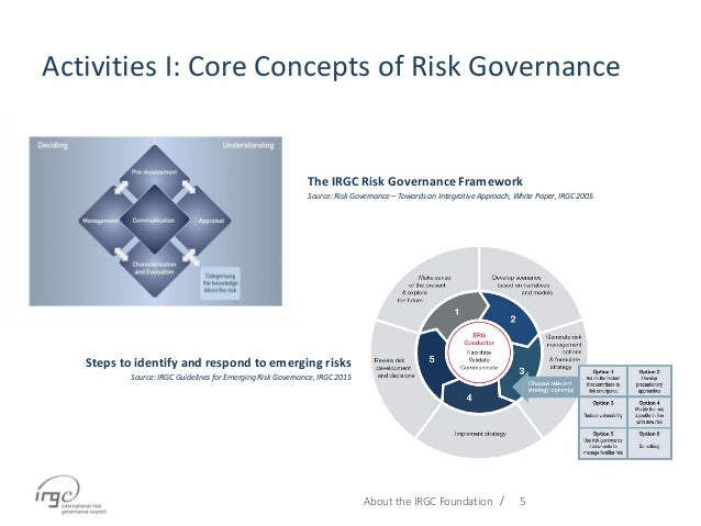 / Activities I: Core Concepts of Risk Governance About the IRGC Foundation 5 Steps to identify and respond to emerging ris...