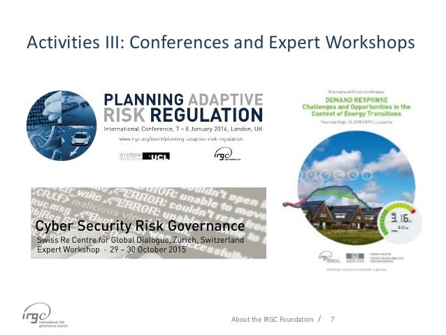 / Activities III: Conferences and Expert Workshops About the IRGC Foundation 7