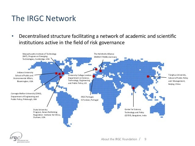 / The IRGC Network About the IRGC Foundation 9 • Decentralised structure facilitating a network of academic and scientific...