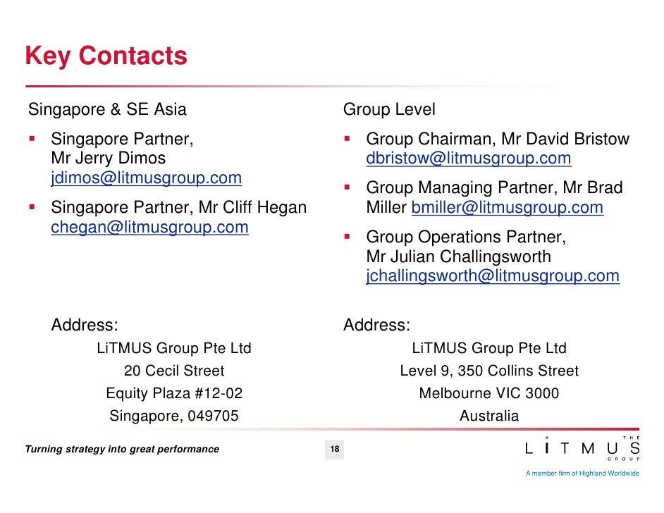 About the litmus group for Chambre de commerce francaise singapore