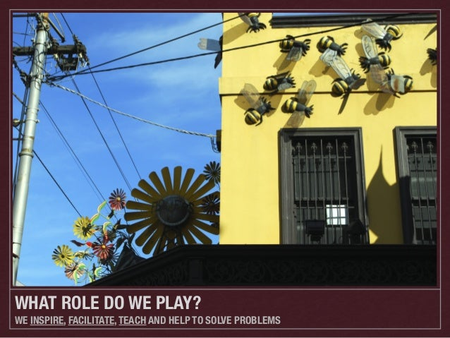 WHAT ROLE DO WE PLAY? WE INSPIRE, FACILITATE, TEACH AND HELP TO SOLVE PROBLEMS