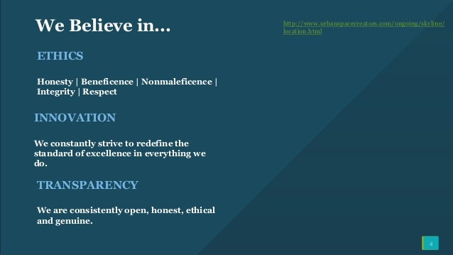4 We Believe in... ETHICS Honesty   Beneficence   Nonmaleficence   Integrity   Respect http://www.urbanspacecreators.com/o...