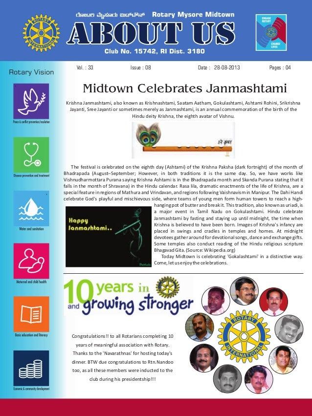 Issue : 08Vol. : 33 28-08-2013Date : Pages : 04 Krishna Janmashtami, also known as Krishnashtami, Saatam Aatham, Gokulasht...
