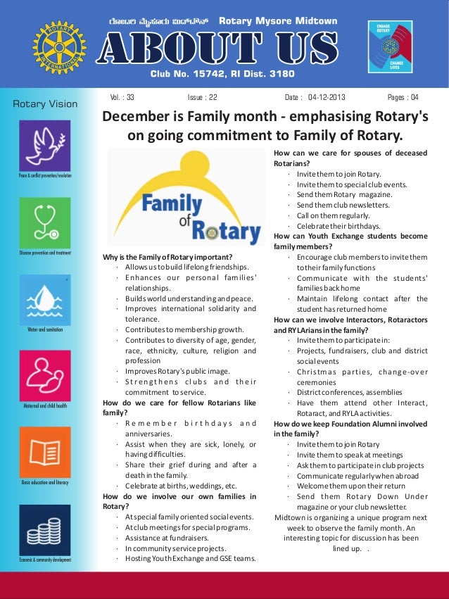 Vol. : 33  Issue : 22  Date : 04-12-2013  Pages : 04  December is Family month - emphasising Rotary's on going commitment ...
