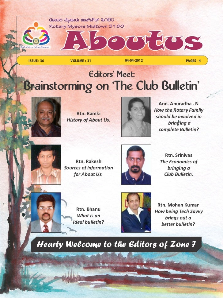 ISSUE : 36     VOLUME : 31            04-04-2012                 PAGES - 4                        Editors Meet:Brainstormi...