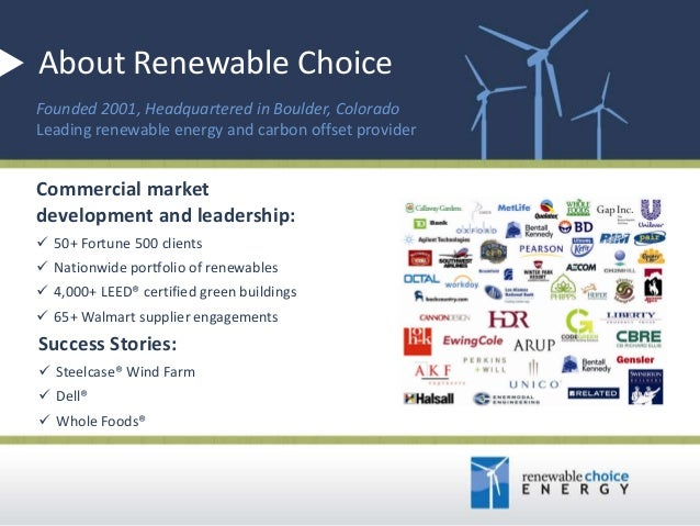 About Renewable Choice Founded 2001, Headquartered in Boulder, Colorado Leading renewable energy and carbon offset provide...