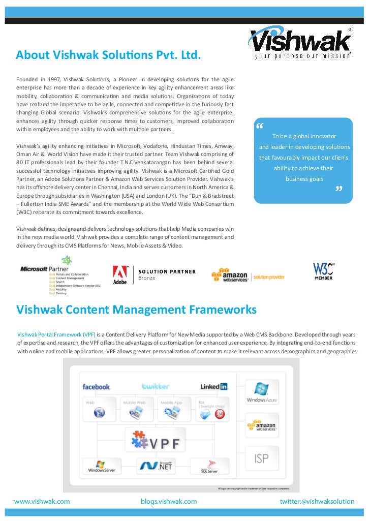 About Vishwak Solutions Pvt. Ltd.Founded in 1997, Vishwak Solutions, a Pioneer in developing solutions for the agileenterp...