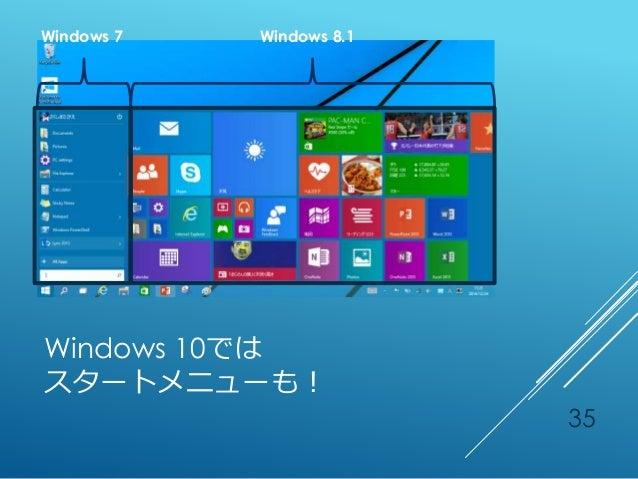 Windows 10では スタートメニューも! Windows 7 Windows 8.1 35