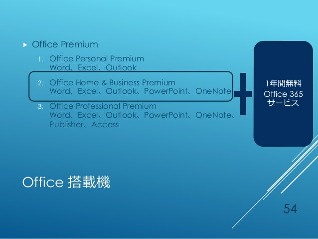 Office 搭載機  Office Premium 1. Office Personal Premium Word、Excel、Outlook 2. Office Home & Business Premium Word、Excel、Out...