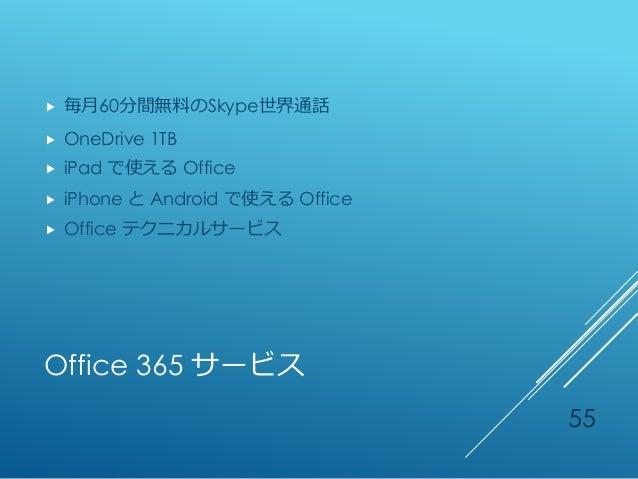 Office 365 サービス  毎月60分間無料のSkype世界通話  OneDrive 1TB  iPad で使える Office  iPhone と Android で使える Office  Office テクニカルサービス 55