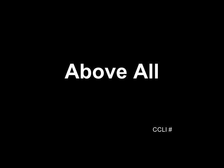 Above All CCLI #
