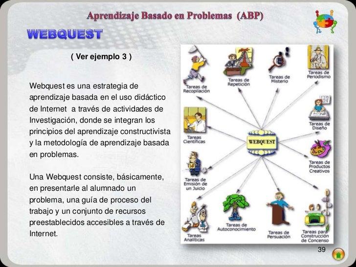 ( Ver ejemplo 3 )Webquest es una estrategia deaprendizaje basada en el uso didácticode Internet a través de actividades de...
