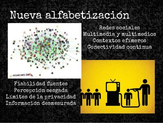 Nueva alfabetización Redes sociales Multimedia y multimedios Contextos efímeros Conectividad continua Fiabilidad fuentes P...