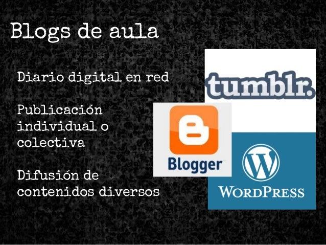 Blogs de aula Diario digital en red Publicación individual o colectiva Difusión de contenidos diversos