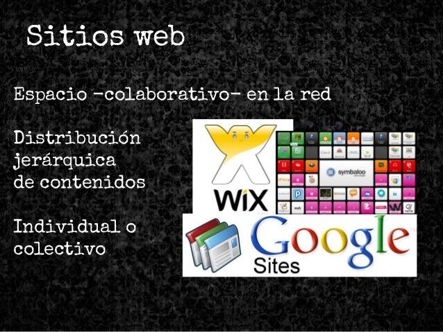 Sitios web Espacio -colaborativo- en la red Distribución jerárquica de contenidos Individual o colectivo
