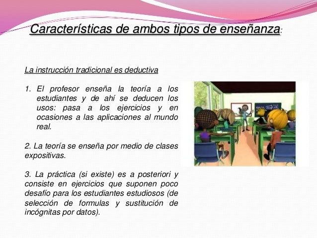 La instrucción tradicional es deductiva 1. El profesor enseña la teoría a los estudiantes y de ahí se deducen los usos: pa...