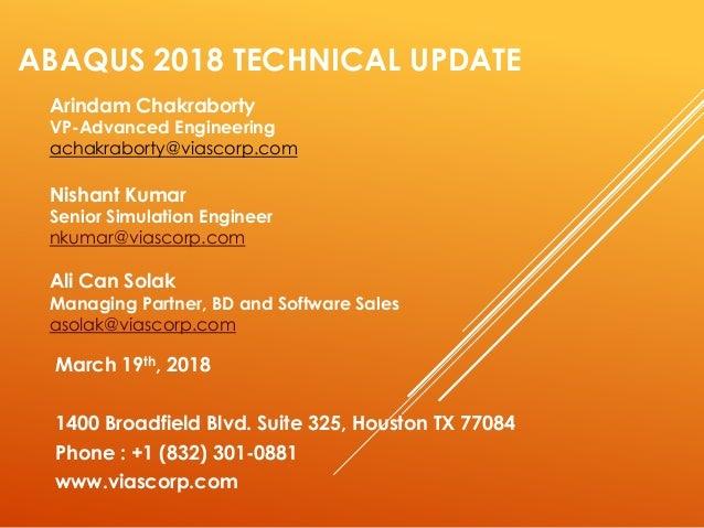 ABAQUS 2018 Technical Update