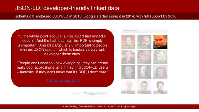 Aaron Bradley, Connected Data London 2018 ▪ #CDL2018 ▪ @aaranged schema.org endorsed JSON-LD in 2013; Google started using...