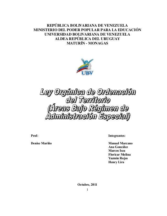 REPÚBLICA BOLIVARIANA DE VENEZUELAMINISTERIO DEL PODER POPULAR PARA LA EDUCACIÓNUNIVERSIDAD BOLIVARIANA DE VENEZUELAALDEA ...