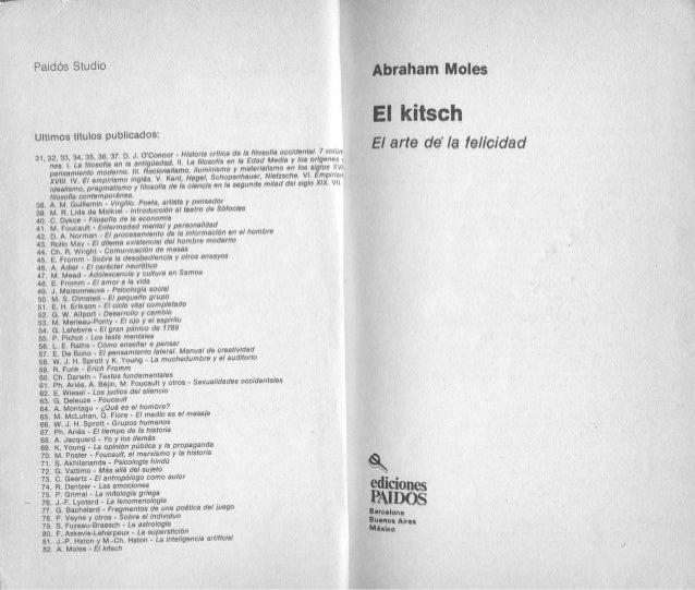 Abraham Moles, El kitsch, arte de la felicidad, PDF