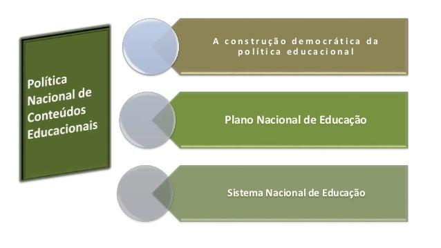 A c o n s t r u ç ã o d emo c r á t i c a d a  p o l í t i c a e d u c a c i o n a l  Plano Nacional de Educação  Sistema ...