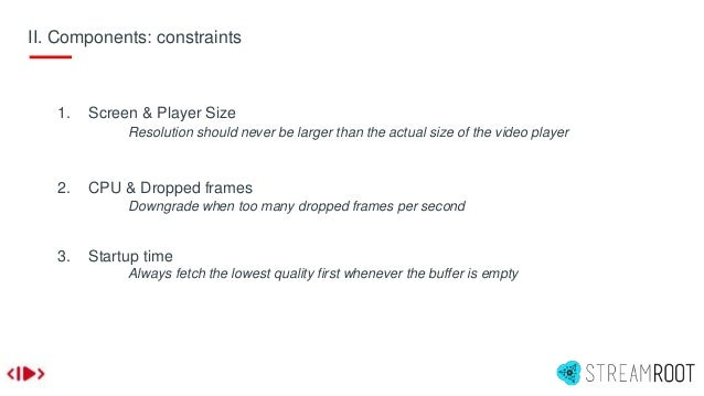 II. Components: constraints 1. Screen & Player Size Resolution should never be larger than the actual size of the video pl...