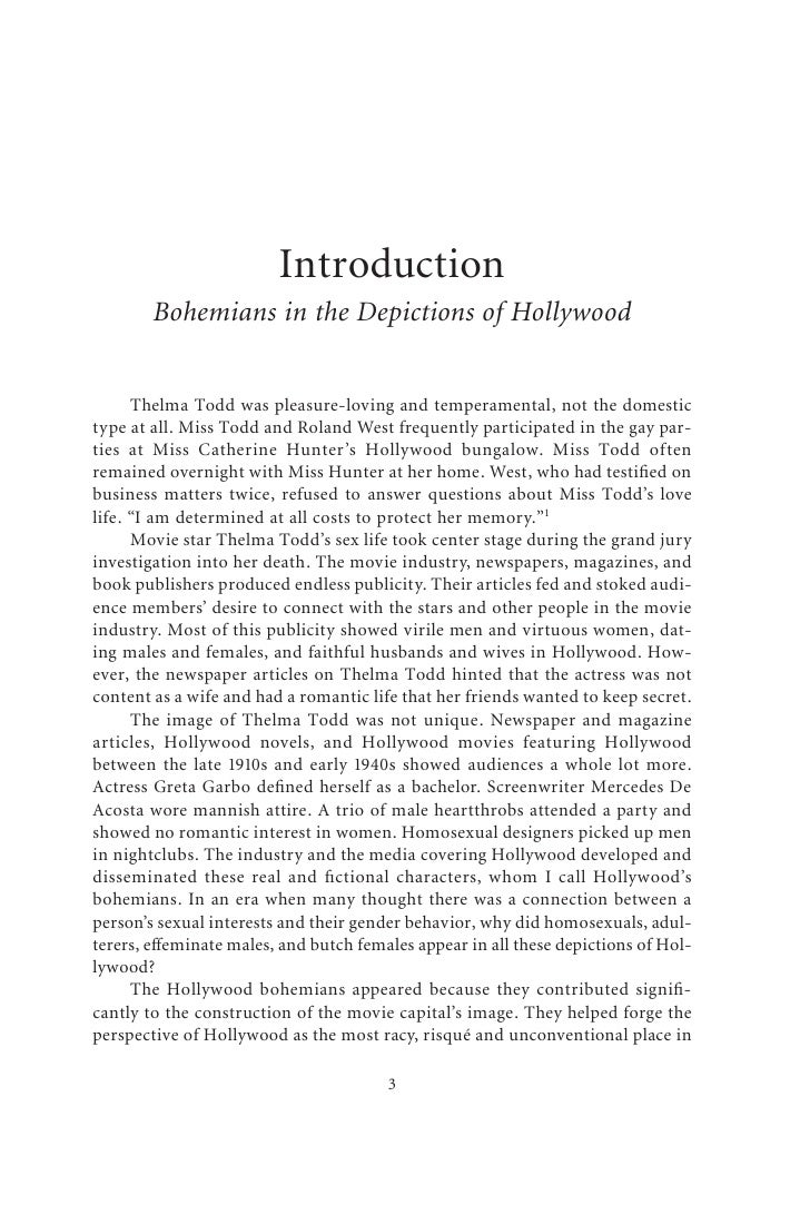 Introduction         Bohemians in the Depictions of Hollywood         Thelma Todd was pleasure-loving and temperamental, n...