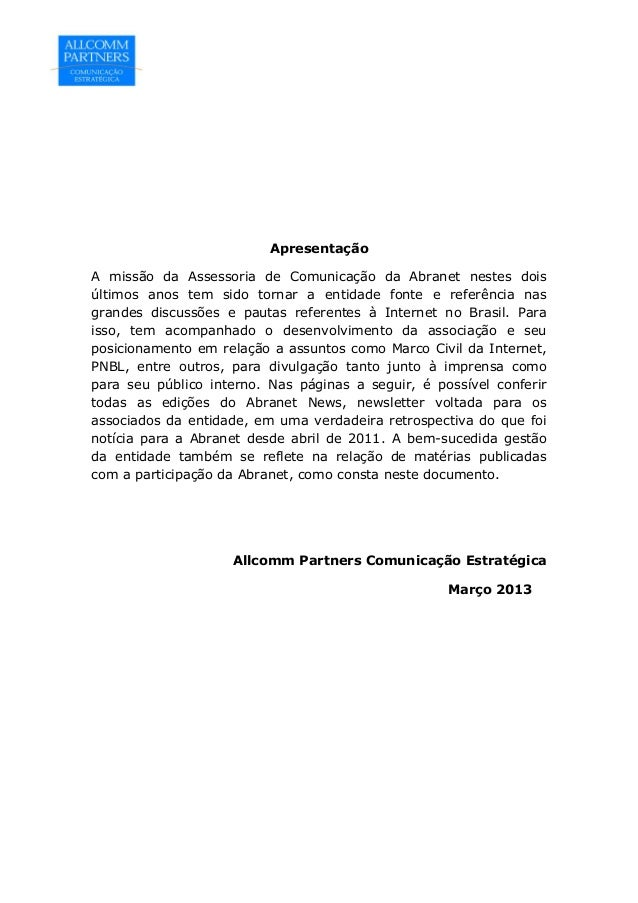 Abranet na Mídia   2011 - 2012 Slide 2