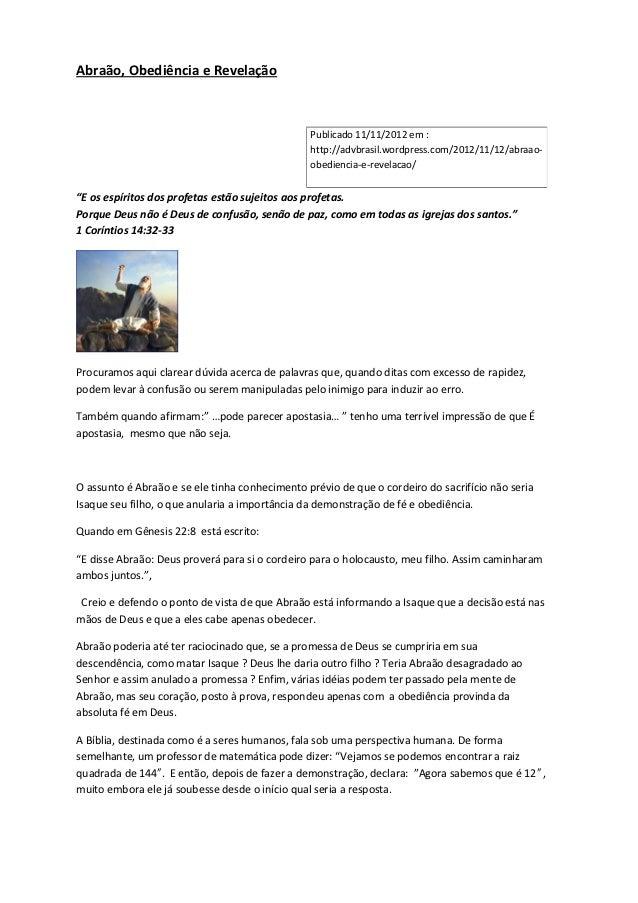 Abraão, Obediência e Revelação                                                Publicado 11/11/2012 em :                   ...